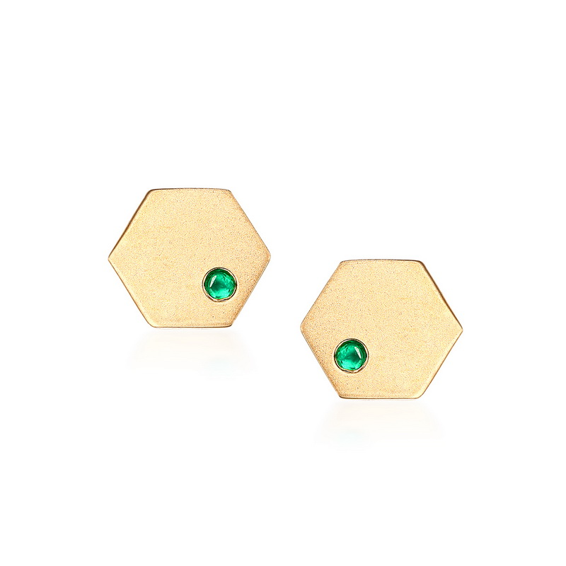 JXXGS Jewelry Fashion 14K Gold Natural Emerald Earrings Hexagon Stud Earrings For Women