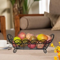 Metal Countertop Fruit Basket Bowl Storage Loop and Lattic wire basket