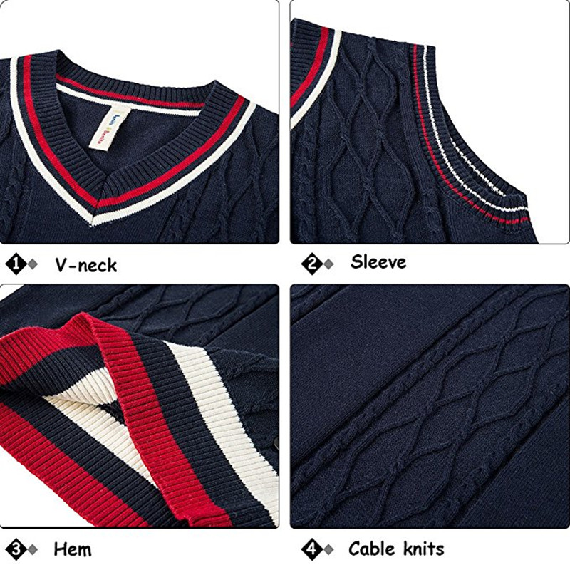 Benito /& Benita Boys Uniform Sweater V-Neck Cotton Pullover Cable Knit Sweater for 5-12Y Navy