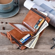 Leather Men's Wallet Hasp Design, Small Mens Wallets With Zipper
