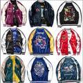 Fashion Spring and Autumn Jacket Men Embroidery Cartoon Fish Lovers Design Satin Short Jacket Outwear men clothing