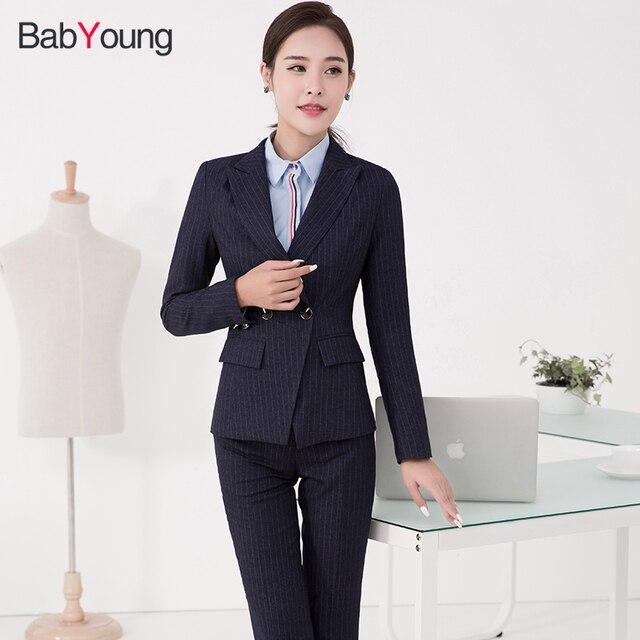 Babyoung mujeres oficina damas trabajo desgaste 3xl más tamaño rayas Blazers  femenina elegante chaqueta 8c3b7772936b