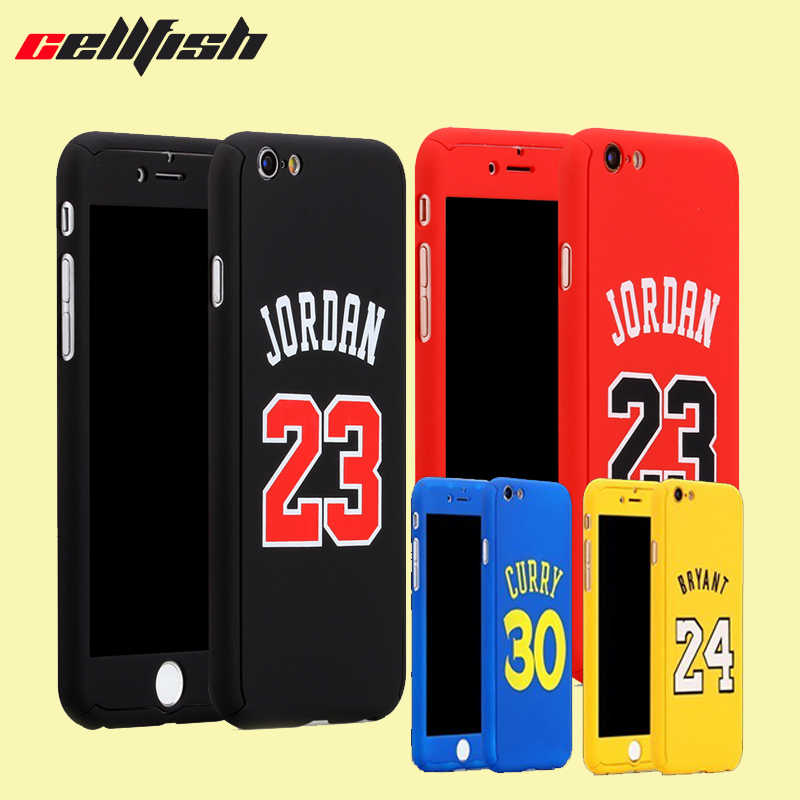 on sale d450a c666e 360 Full body Basketball Jordan Case for Coque iPhone 8 7 Plus 6 6s Temper  Glass
