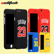 360 Full body Basketball Jordan Case for Coque iPhone 8 7 Plus 6 6s Temper Glass Bryant curry capinha for Capa iPhone NBA Cover(China)