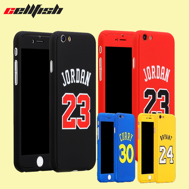 buy popular d2c6b 60d8f US $2.62 15% OFF|360 Full body Basketball Jordan Case for Coque iPhone 8 7  Plus 6 6s Temper Glass Bryant curry capinha for Capa iPhone NBA Cover-in ...