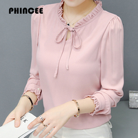 Stand Collar Chiffon Blouses Shirts Womens Summer 2017 Hot Ruffles Long Sleeve Solid Sexy Pullovers Female