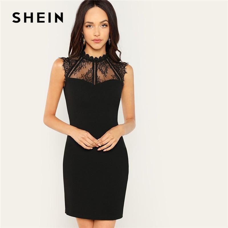 SHEIN Black Party Embroidery Sheer Eyelash Lace Yoke Solid Stand Collar Sheath Dress 2018 Summer Fashion Elegant Women Dresses