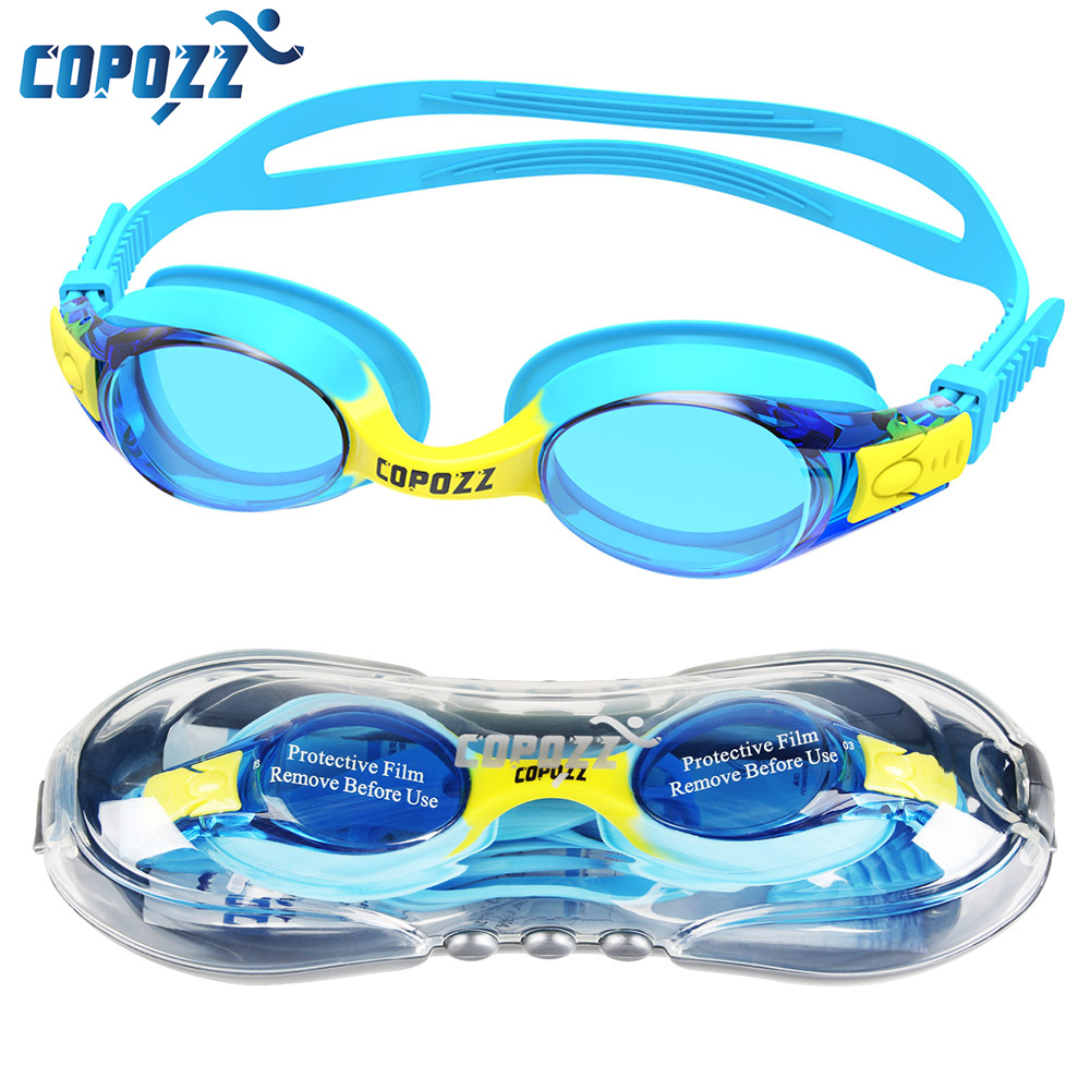 цена на COPOZZ Swimming Goggles Kids Age 3-10 Waterproof Swimming Glasses Clear Anti-fog UV Protection Soft Silicone Frame and Strap