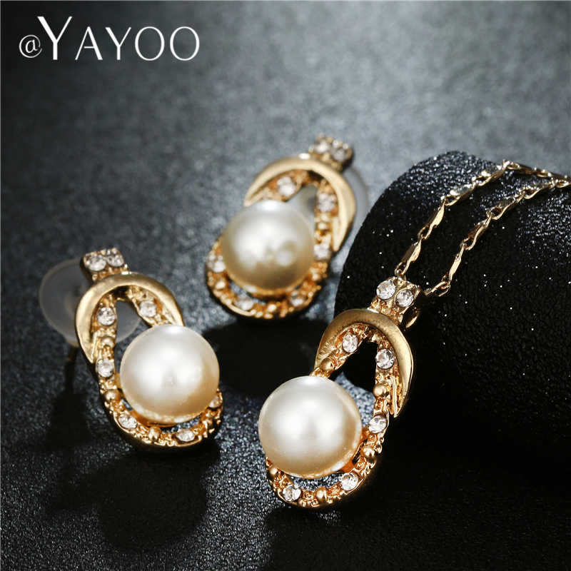 AYAYOO Wedding Bridal Jewelry Sets Simulated Pearl African Necklace Sets For Women Gold Color Simple Turkish Jewellery Set