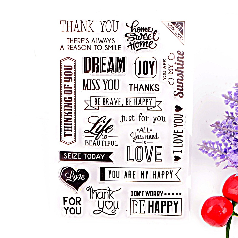 Clear Stamps Crafts and Scrapbooking DIY Photo Cards Album Thank You Design Transparent Silicone Stamp stout хомут для труб с гайкой 1 32 37