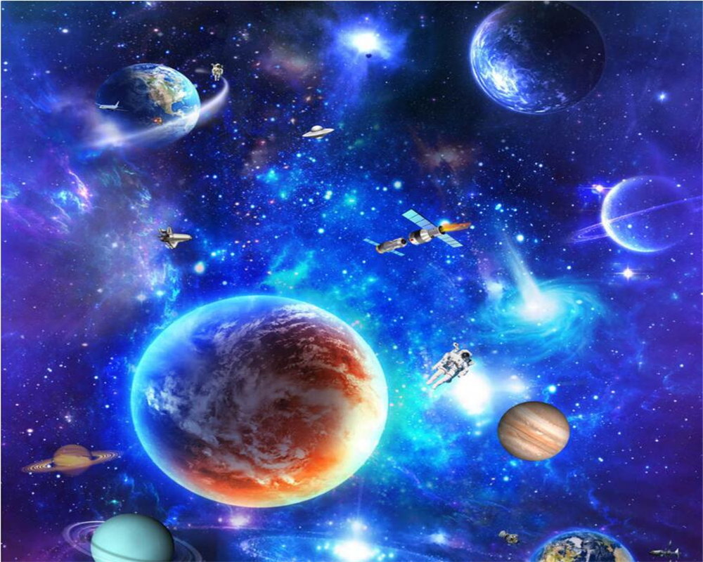Beibehang Star Galaxy Universe 3d Floor Tall Tile Tile Painting
