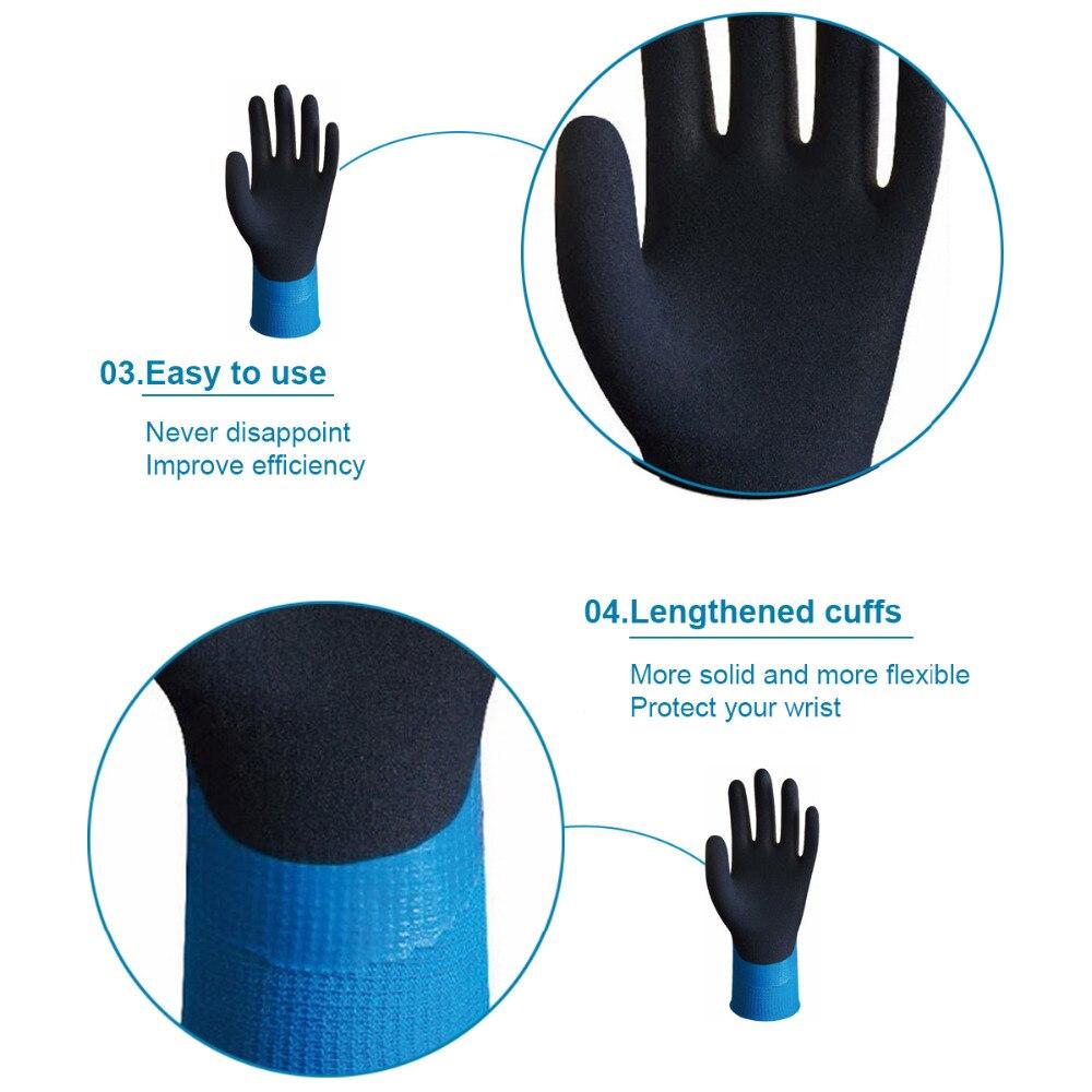Wonder Grip Gloves WG-318 Aqua Latex Waterproof Fully Coated Nylon Blue