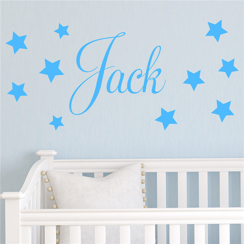 Baby Boys Wall Sticker Personalised Stars Child Name Bedroom Nursery Vinyl Stickers Star Decal for Kids Room Home Decor