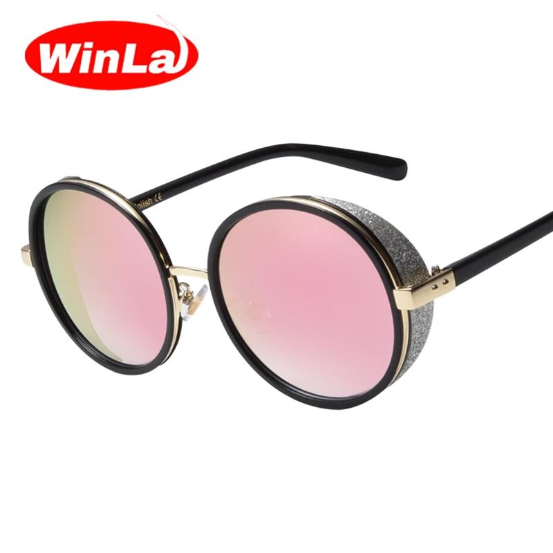 Winla Retro Women Steampunk Sunglasses Coating Mirror Round Circle Lens Women Sunglasses Goggles Steampunk Metal Glasses UV400