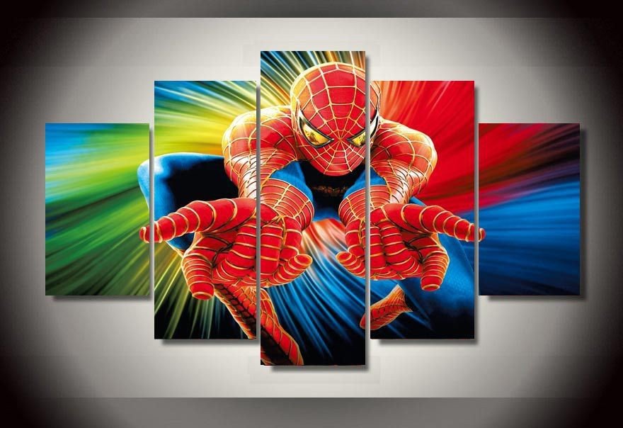 Spiderman Wall Art spiderman wall art decoration painting on canvas of 5 pieces movie