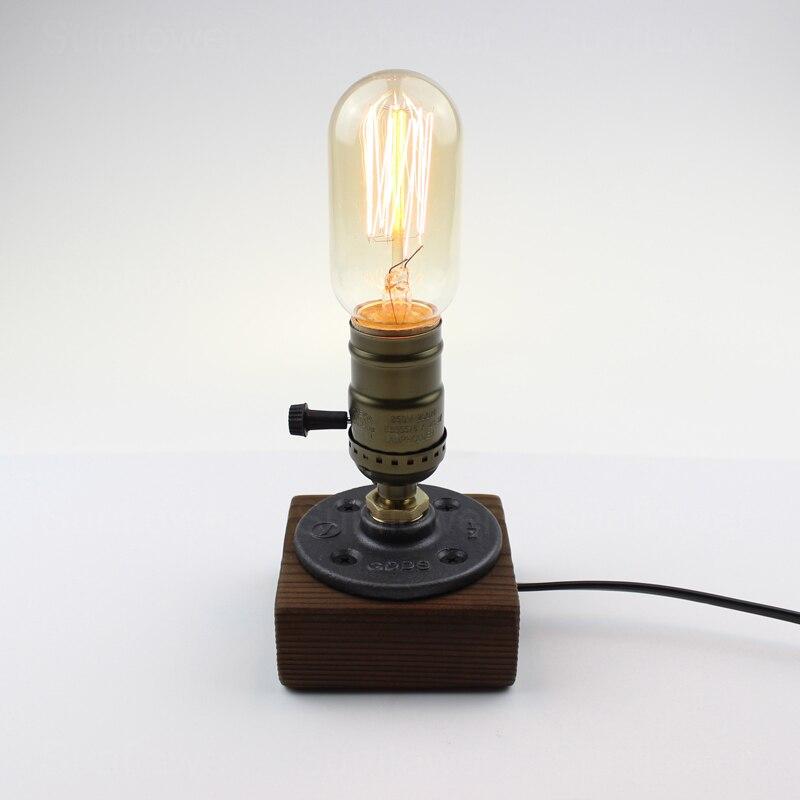 Лофт Эдисон промышленного труба Ретро Личность Творческая настольная лампа переменного тока 110 В/220 В для кабинет Гостиная Спальня прикрова...