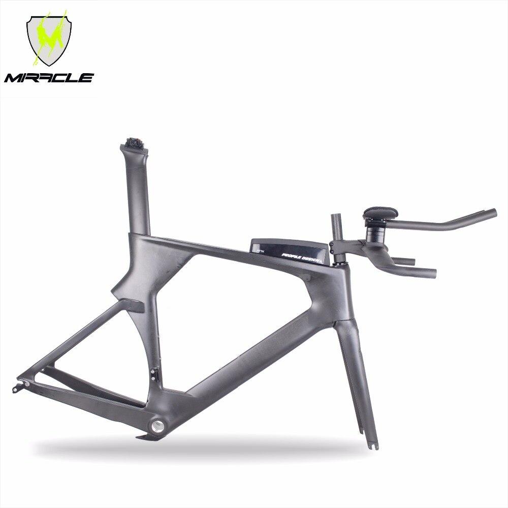 MIRACLE 2018 Time Trail Carbon Frame,carbon TT Bike Frame Include Frame Fork Headset Seatpost Clamp Stem TT Bar ATTK Box