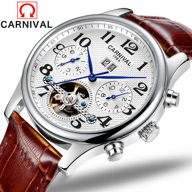 Automatic Watch Men Business Waterproof Clock Mens Watches Luxury Skeleton Mechanical Wristwatch Relogio Masculino Leather Band-in Mechanical Watches from Watches    1