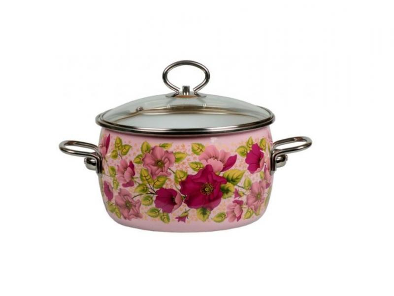 Pan VITROSS, Violeta, 3 L, with glass cover, pink pan vitross fruits 3 l with glass cover