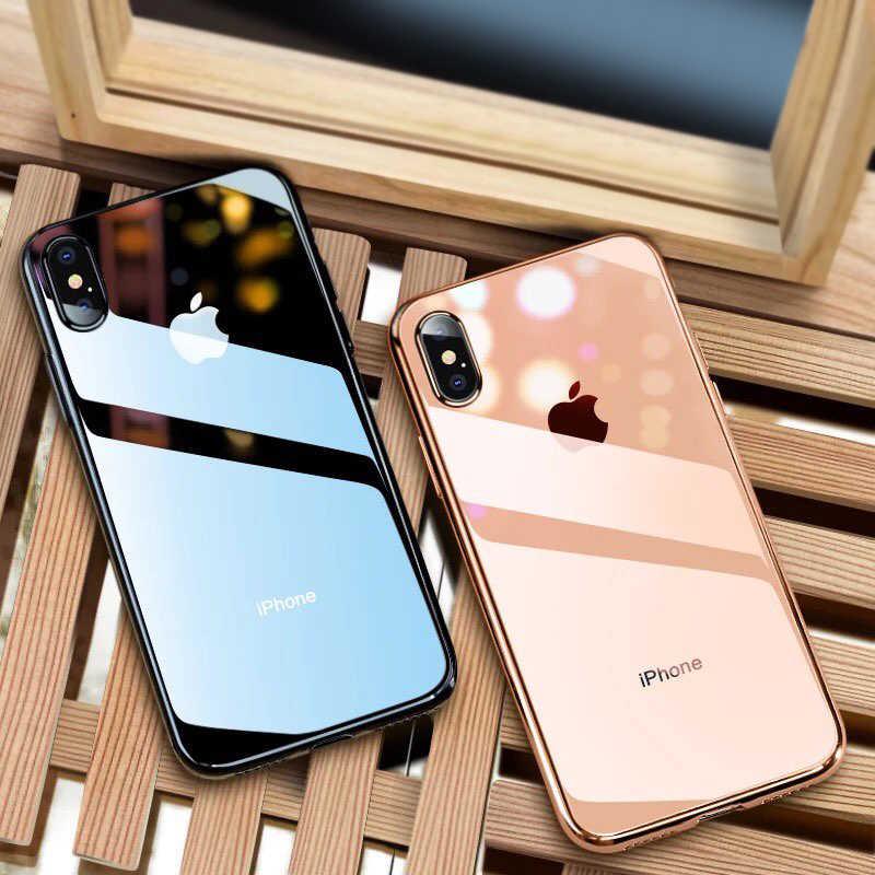ための iphone × ケースカバーのための iphone 7 6 8 プラスケースのための iphone Xs 最大 XR 透明渡辺色薄型スリム TPU バックカバーケース