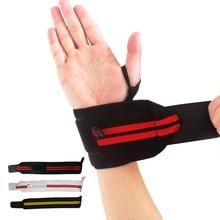 AOLIKES 1Pair Weight Lifting Sport Wristband Gym Wrist Brace Thumb Support Strap Wraps Bandage Fitness Training