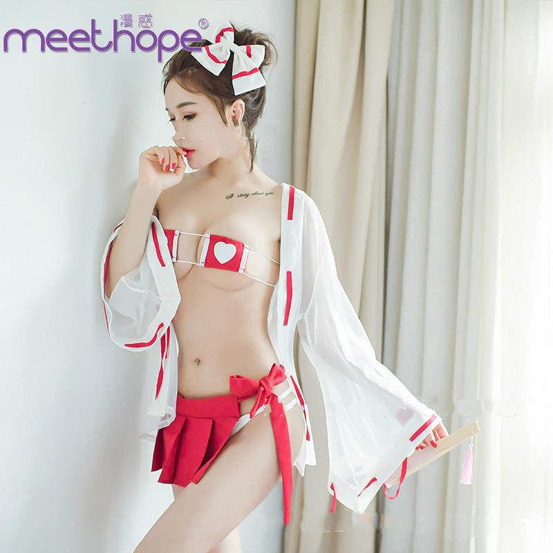Japanese Lingerie <font><b>Sexy</b></font> uniform <font><b>Sexy</b></font> Witch doctor <font><b>Cosplay</b></font> <font><b>Cute</b></font> girl <font><b>sexy</b></font> christmas clothes women Open chest Short skirt image