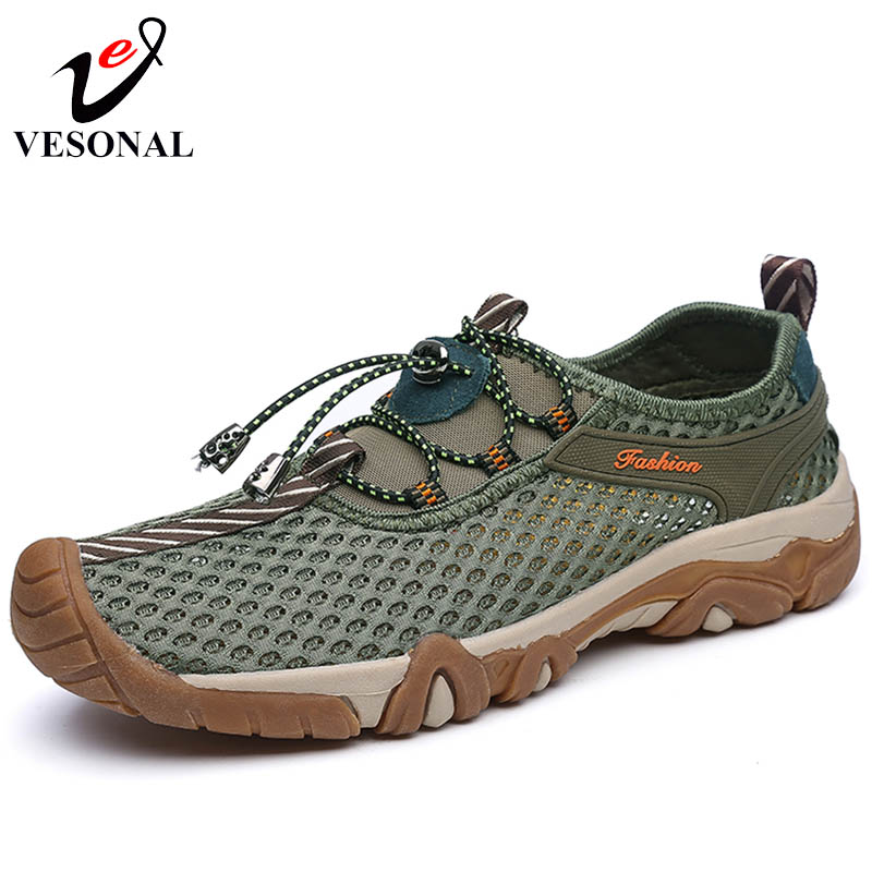 VESONAL 2018 Summer Spring Breathable Light Mesh Patchwork Men Shoes Casual Sneakers Male Adult Water Walking Quality Footwear