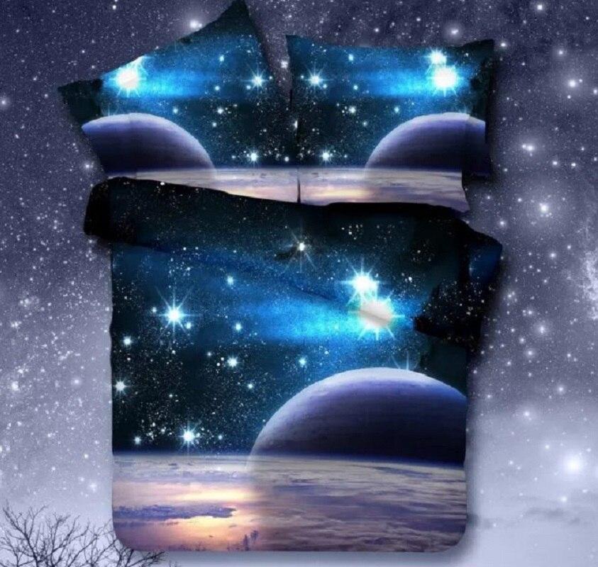 Universe Outer Space Themed Bedspread 3pcs/4pcs Bed Linen Bed Sheets Duvet Cover Set