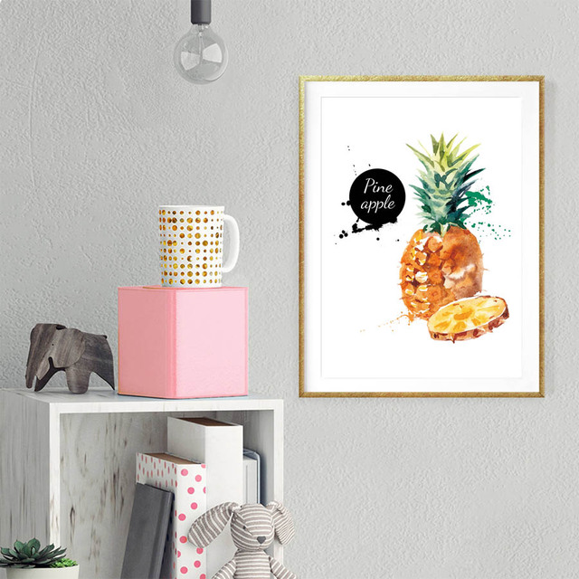 Watercolor Tropical Fruit Pineapple Art Print Wall Poster Cute Pineapples  Canvas Painting Tropical Plants Fruit Home
