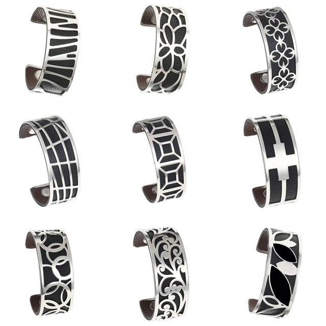 Legenstar Bracelets & Bangles For Women Silver Pulseiras Stainless Steel Manchette Femme Leather Reversible Cuff Bangle