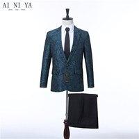 Для мужчин Свадебный костюм зеленый цветочный смокинг жениха костюмы для певицы индивидуальный заказ мужской костюм с брюками best человек б