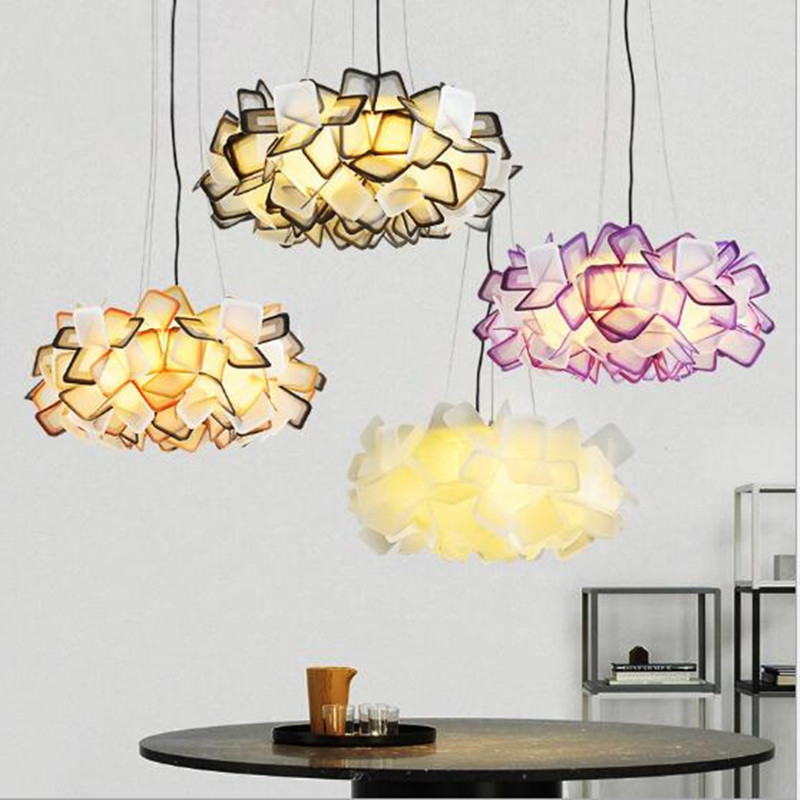 new design clizia suspension lamp handcraft colorful gradient acrylic flower led pendant light bedroom dining room hanging light Nordic Designer Clizia Suspension Lamp Colorful PP Acrylic Flower Led Pendant Light Bedroom Light Cafe Lights