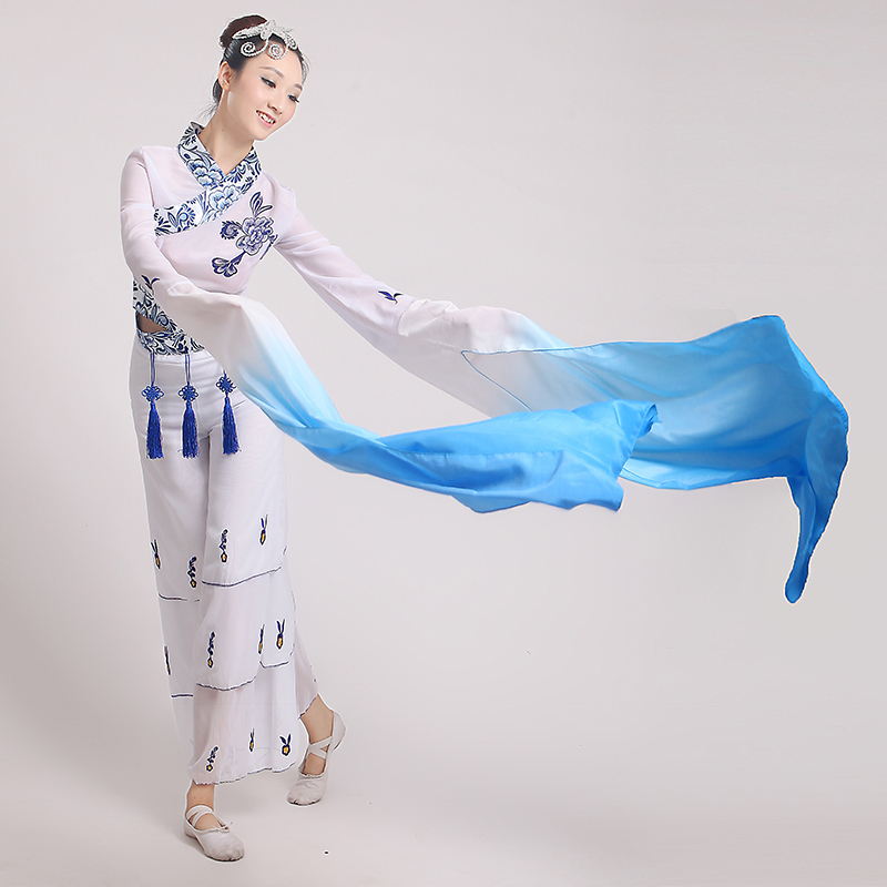 2017 hanfu And Porcelain Water Sleeves Costumes Female Chinese Classical Dance Clothing Long Fan Poetry Fairy Costume