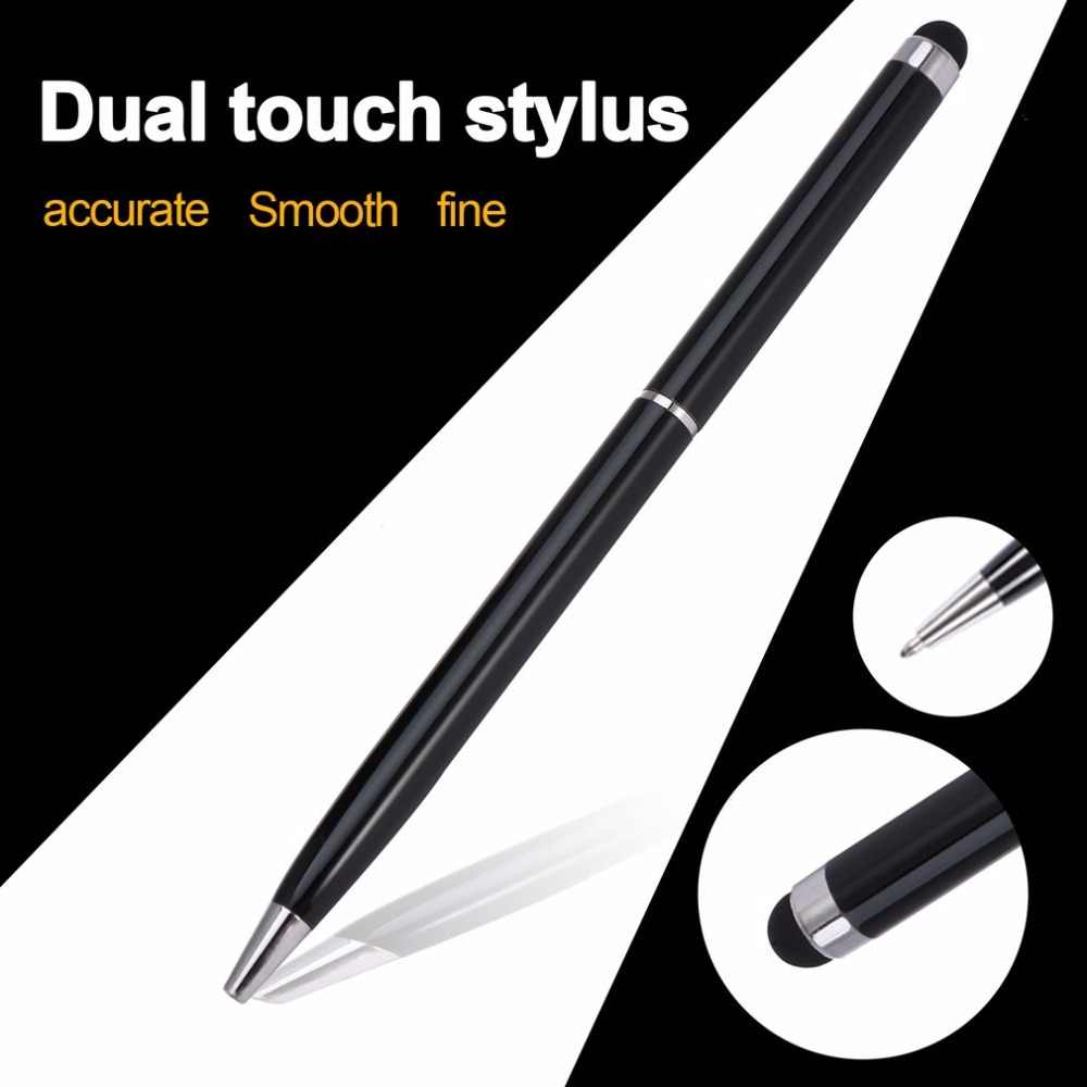Newest 2in1 Black mini metal capacitive touch pen stylus screen Ball Point Pen for iPad 2 3 for iPhone 4 4S Promotion