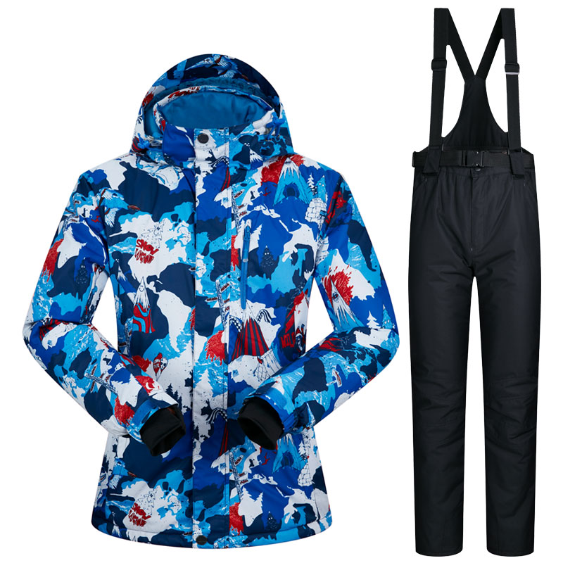 Printed women snow suite Climbing WATERPROOF snowboard jacket female and snow pants lady snow sets sports suits new winter printed jacket and pocket design pants twinset