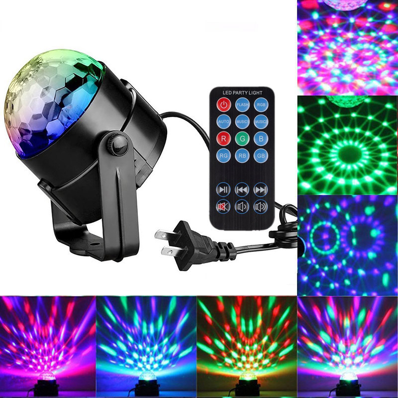 Colors Disco Light RGB Stage Lighting Projector Rotating Ball Lamp Distant Control EU/US/UK Plug For Party KTV Stage Lights