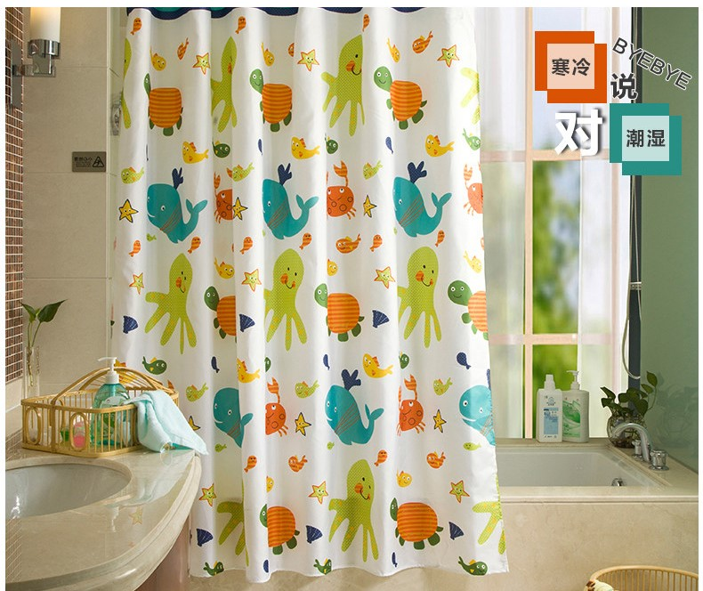 Thick High Grade Printing And Dyeing Cartoon Shower Curtain Mildew Waterproof Polyester Fabric