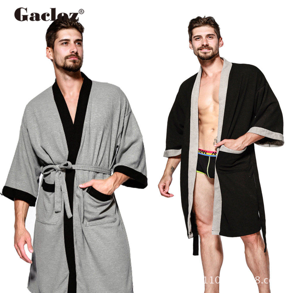 Gacloz Men Kimono Bathrobe Lounge Sleepwear Sauna Clothing Mens Pockets Sleep Robes Hotel Hot Spring Spa Robe