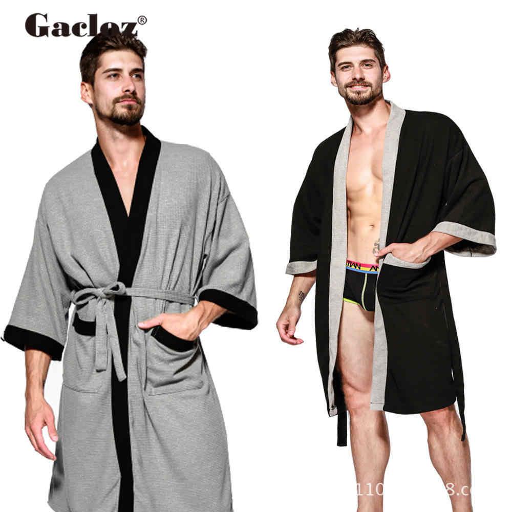 Gacloz 男性着物浴衣ラウンジパジャマサウナ服メンズポケット睡眠ローブホテル温泉スパローブ