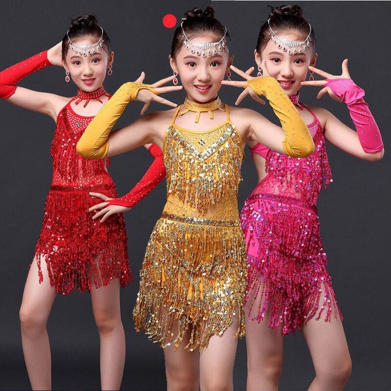 00d9853f9 Children Girls Dance Dress Sequins Dancing Dress Costume Kids Tango ...