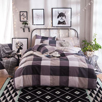 Cotton Bedding Set Stripe Duvet Cover Bed Sheets 100 Cotton Bedding Set Queen Size 4PCS