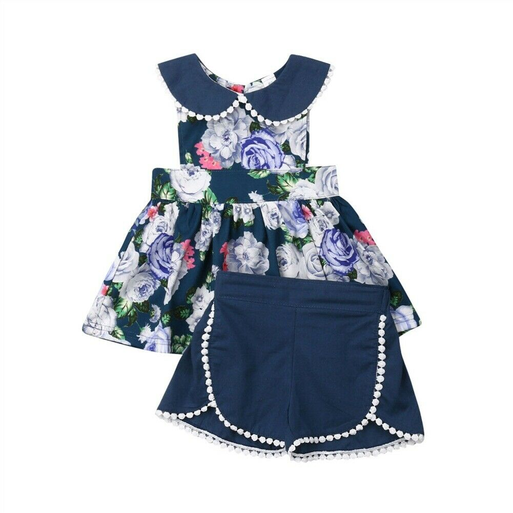 2019 Newest Style Kids Toddler Baby Girl Spring Summer Clothing 2pcs Ruffle Floral Tops+shorts Adorable Outfit Set 2-6years