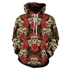 All Over Print Floral Flowers Rose Skulls Hoodie Men Women Hip Hop Streetwear Outfit Hooded Full Sleeve Tops Hoody Sweatshirts