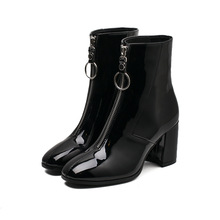 Women Shoes 2019 Zipper Boots Woman Front Big Zipper Open Botas Mid-Calf Botines Winter Thick High Heels Patent Leather Booties nancyjayjii purple ruffles knee high boots zipper winter round toe spike heels women shoes woman botas botines zapatos mujer