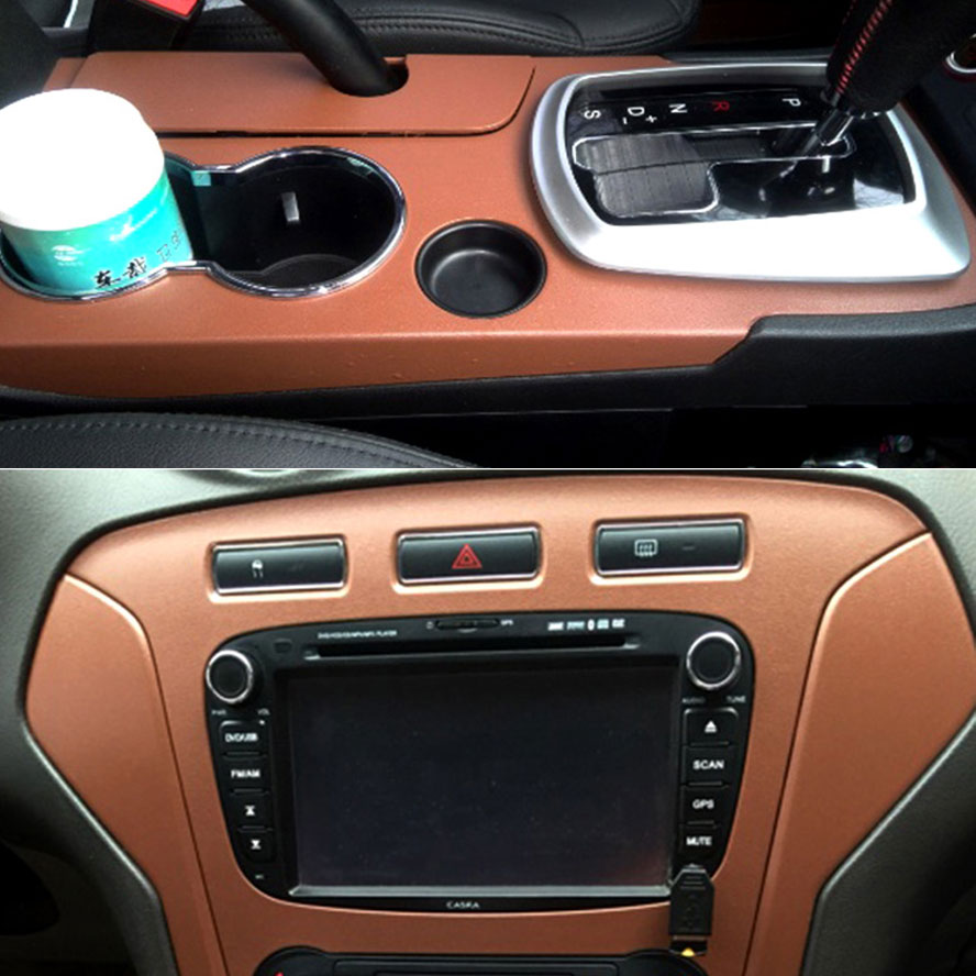 BBQ@FUKA 59.84 x 39.37 3D DIY Brown/Black Leather Texture Car Interior Trim Sheet Film Sticker Decal For Universal Car Styling