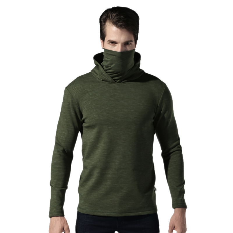 2018 New High-niecked Men's Tactical Male Outdoor Long Sleeve Breathabel warm Sport shirt Men Hiking Cotton keep warm sweater 2016 outdoor protection esdy tactical training long sleeve sport t shirt underwear wicking speed dry outdoor warm tight shirt