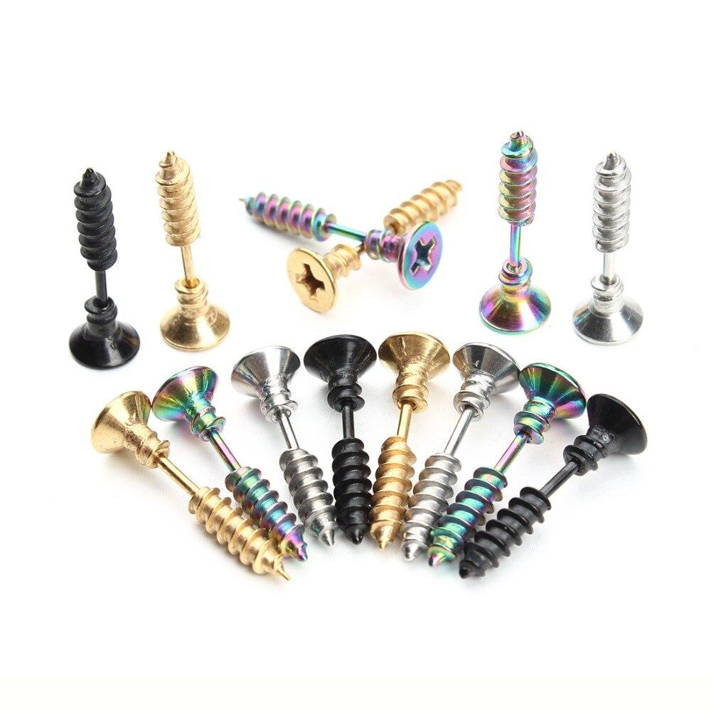1 Pair/lot Steampunk Screw Stud Earrings for Men Women Fashion Stainless Steel Body Ear Piercing Stud Earring Men Jewelry