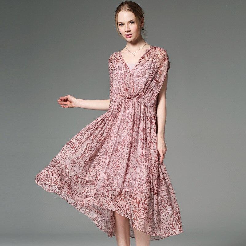 인쇄 100% 실크 드레스 반팔 유럽과 미국-에서드레스부터 여성 의류 의  그룹 1
