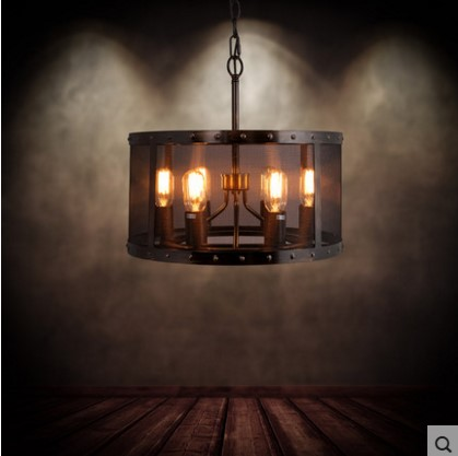 Style Loft Vintage Industrial Lighting Pendant Light Fixtures With 6 Lights Metal Lampshade American Country Retro Lamp iwhd loft style creative retro wheels droplight edison industrial vintage pendant light fixtures iron led hanging lamp lighting