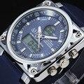 Top Brand ASJ Men's Sport Watch Double Movement Quartz&Digital LED Watches Waterproof Rubber Band Men Gift Electronic Wristwatch